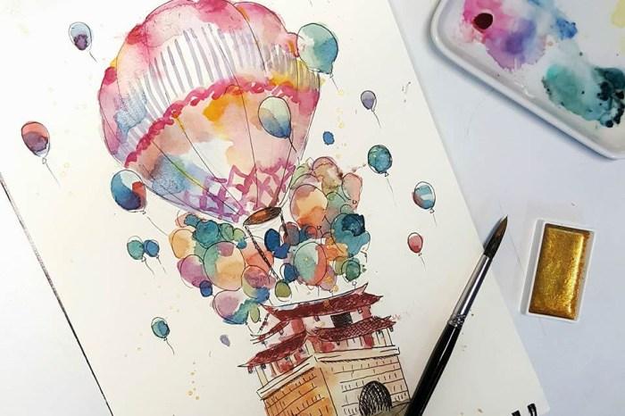 紙上旅遊‒熱氣球小房子。新竹輕水彩。初階班課程