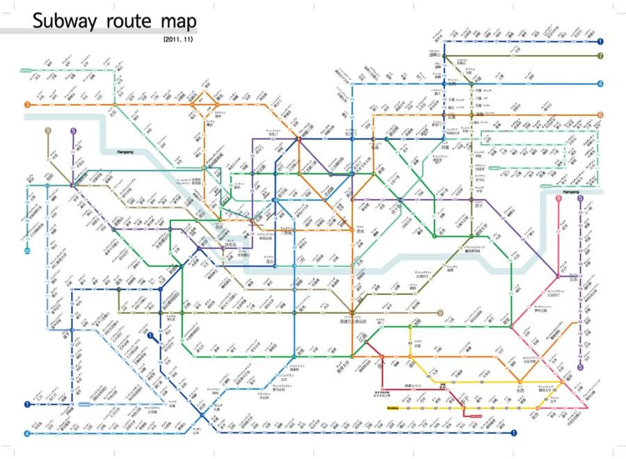 [OREO的旅行日記。韓國首爾自由行] 首爾地鐵韓文中文對照圖下載(清晰版)