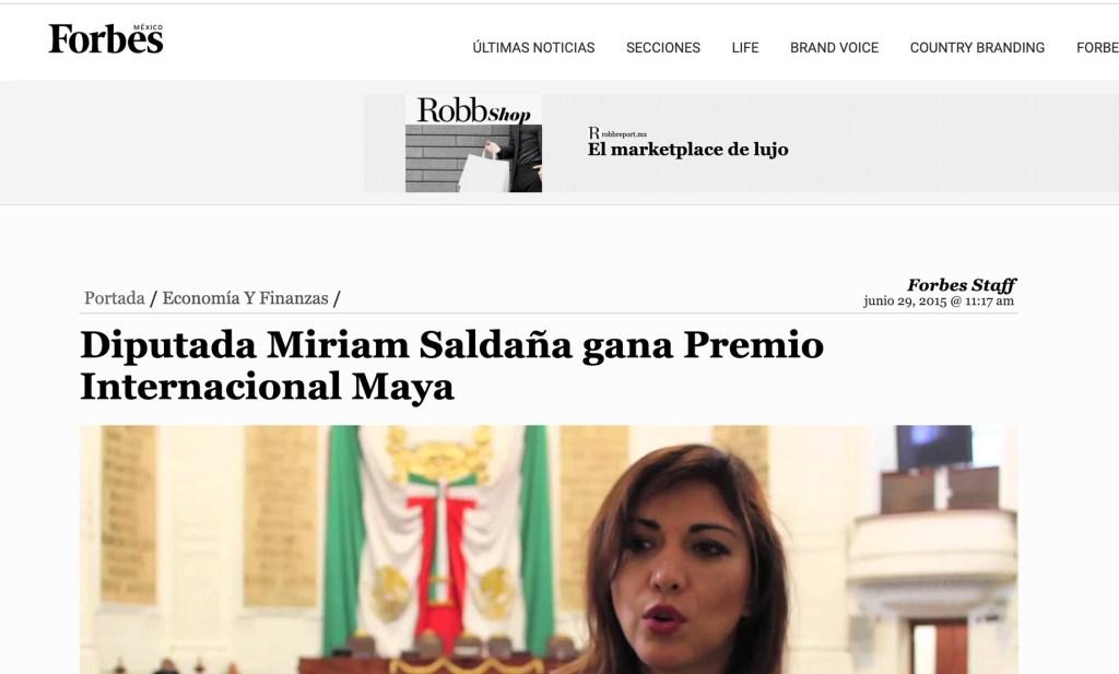Forbes - Diputada Miriam Saldaña gana Premio Internacional Maya - Instituto Mejores Gobernantes