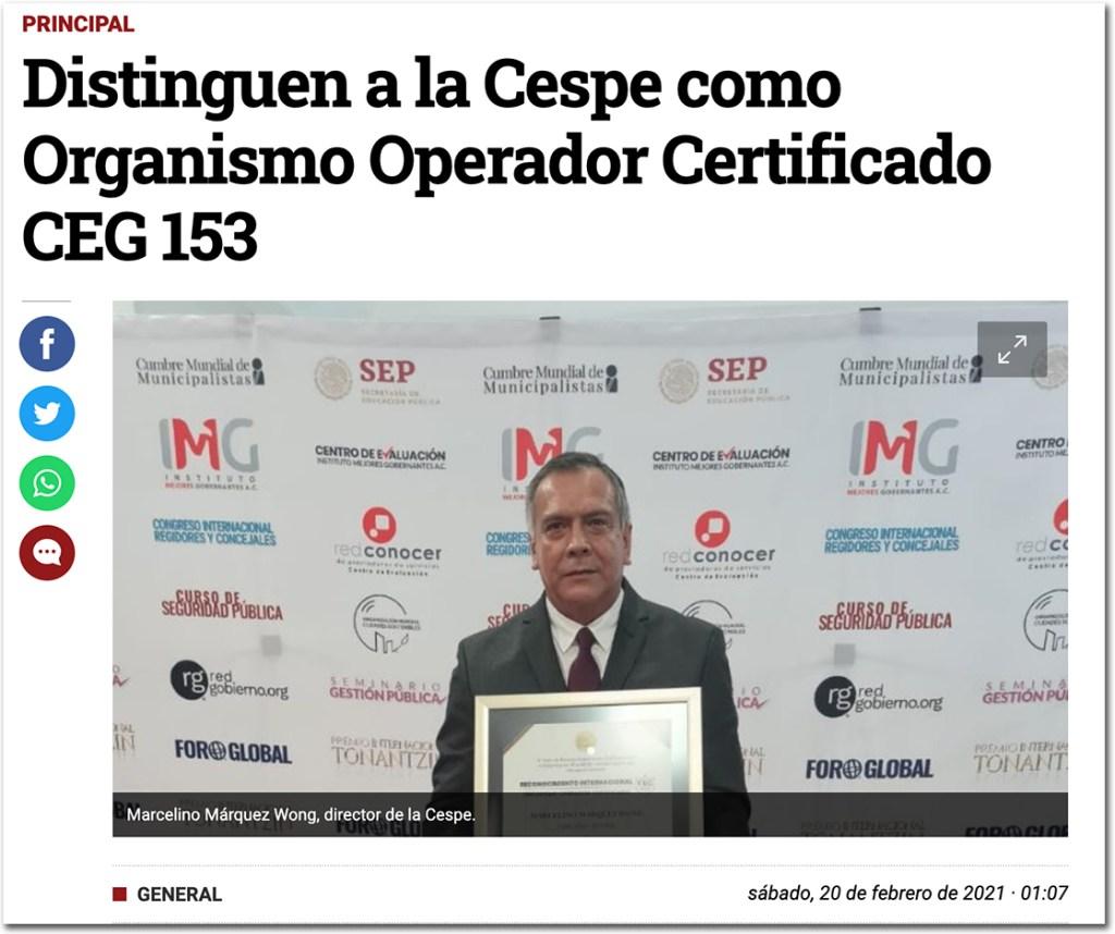 Distinguen a la Cespe como Organismo Operador Certificado CEG 153 - Centro de Evaluación del Instituto Mejores Gobernantes