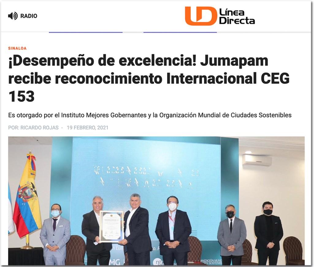 ¡Desempeño de excelencia! Jumapam recibe reconocimiento Internacional CEG 153 - Centro de Evaluación del Instituto Mejores Gobernantes