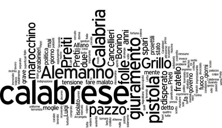 Tag Cloud News online 28 Aprile - Sparatoria Palazzo Chigi