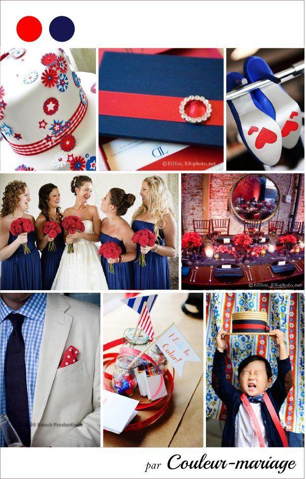 Mariage en bleu marine et rouge  Couleur mariage