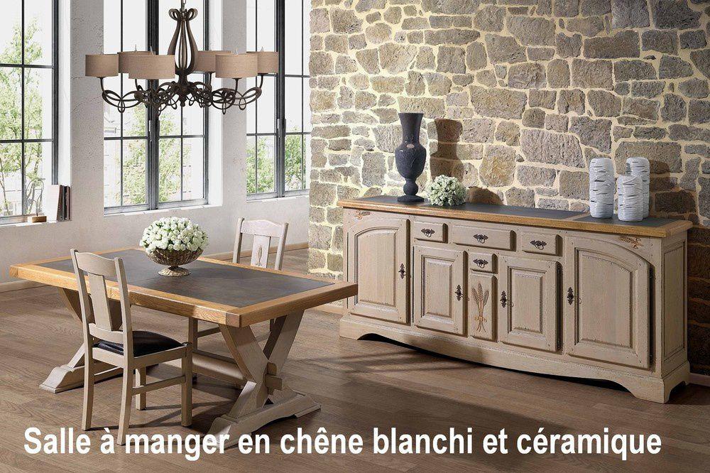 Salle  manger rustique en bois blanchi avec cramique