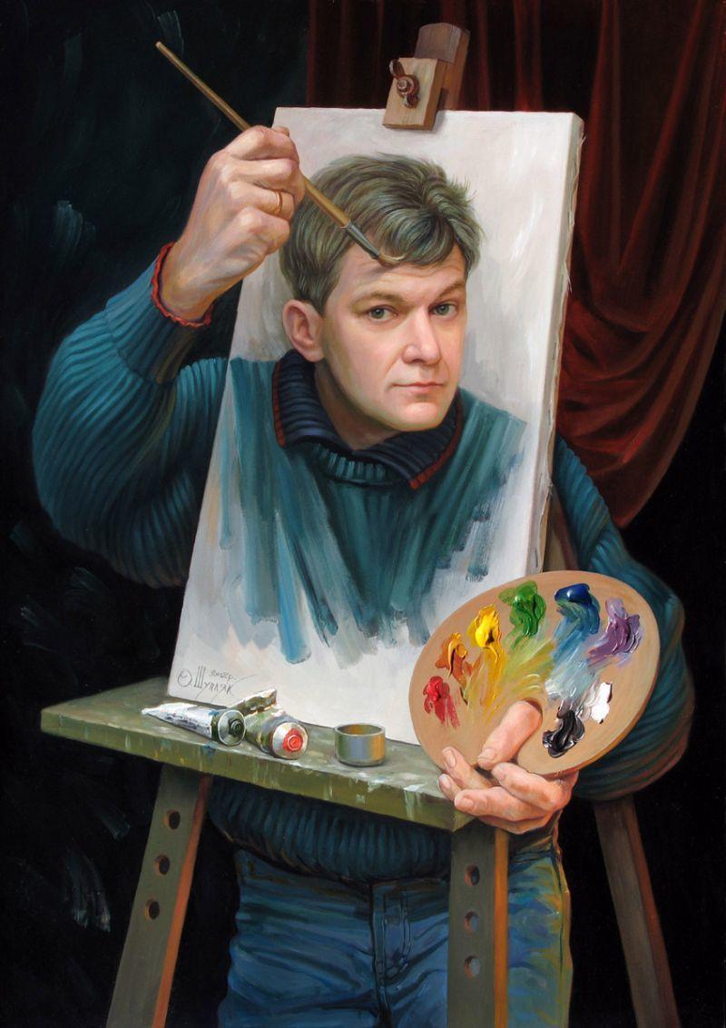 Voici 2 autoportraits d'Oleg Shuplyak qui montrent tout son art et sa personnalité.