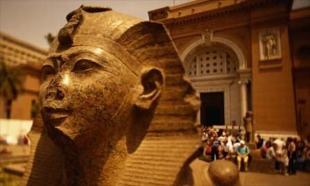 Another statue with the nose/lips destroyed and they claim these pharaohs as Caucasian;if the pharaohs were white or Arabs none of them would be attacked like that. sarcasm,egoism,jealousy and you can see how the  Egyptian statues are used as outside decorations in the Arab republic of Egypt while their museum are full of fake Semite looking statues.