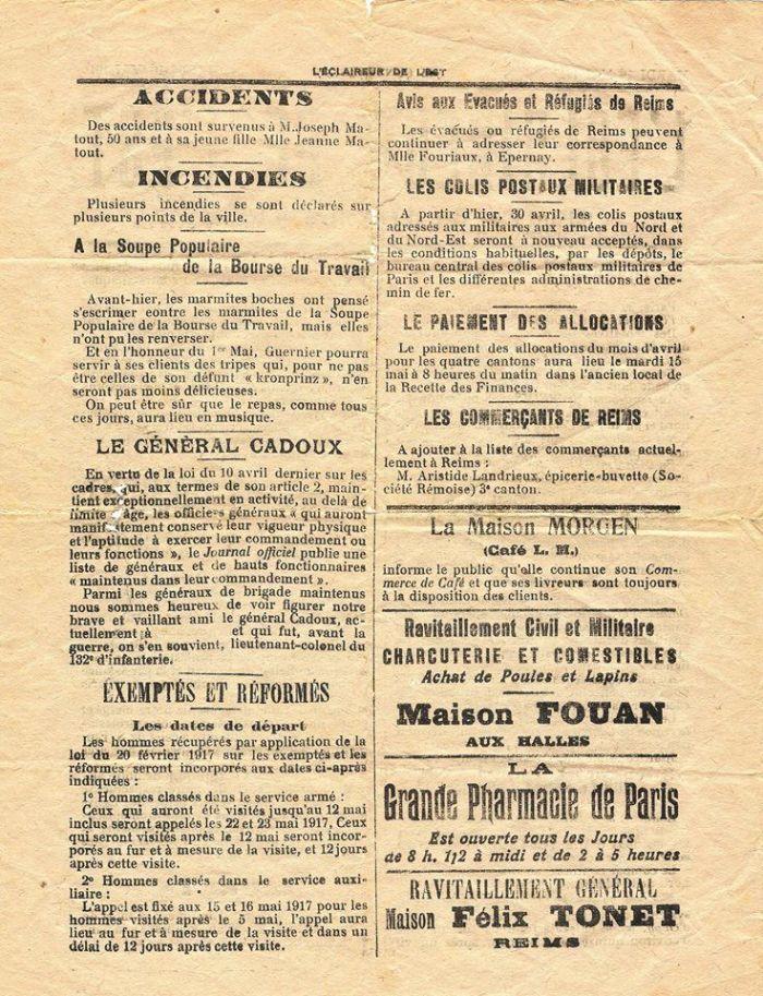 """""""L'Eclaireur de l'Est"""" du mardi 1er mai 1917"""