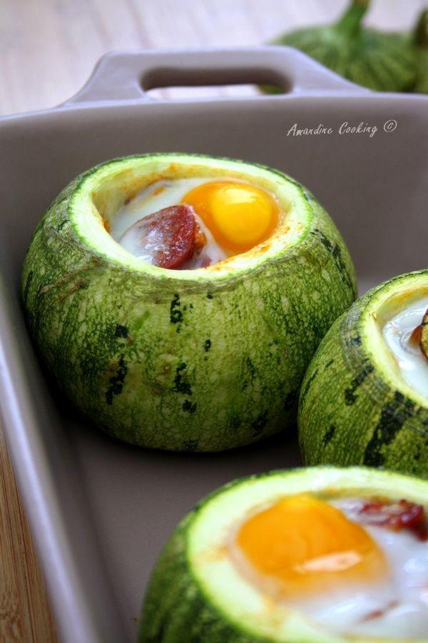 Courgettes rondes farcies (poivron, tomate, chorizo & oeuf)