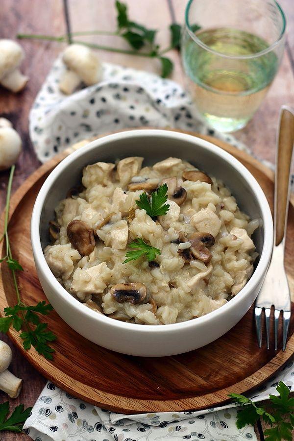 Recette Risotto Poulet Champignon : recette, risotto, poulet, champignon, Risotto, Champignons, Poulet, Amandine, Cooking