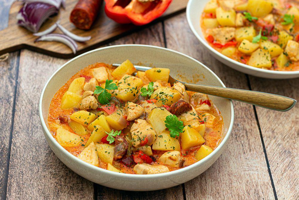 poulet au chorizo et pommes de terre au