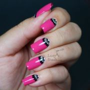 elegant hot pink -moon manicure