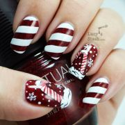 candy cane holiday manicure