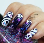 abstract nail art over colors