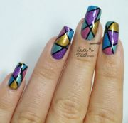 abstract holo nail art design