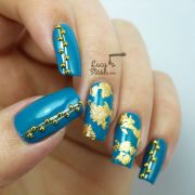 teal & gold nail art with rimmel
