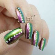'stiched ' multichrome nail art