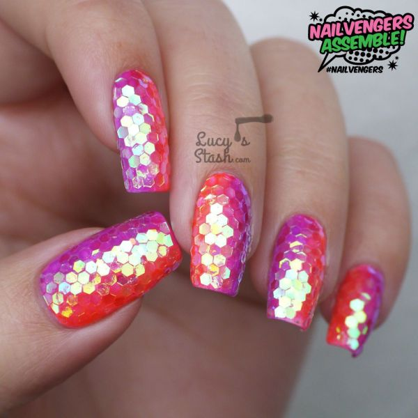Nailvengers Assemble - Glitter Placement Nail Art Lucy' Stash