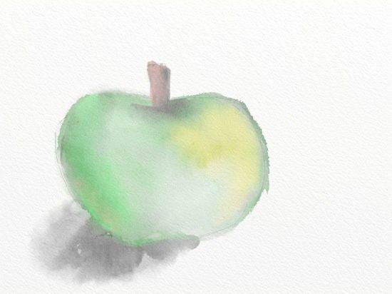 Premier essai, une pomme donc.