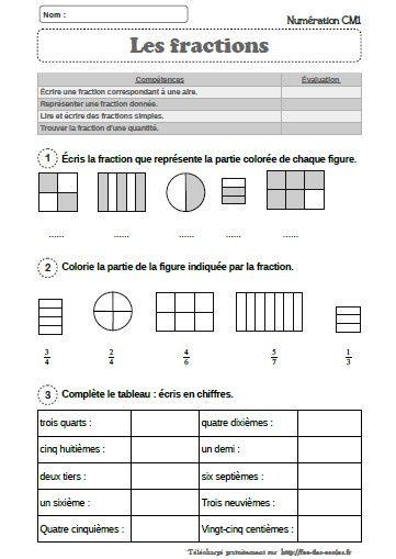 Exercices Sur Les Fractions Cm2 : exercices, fractions, Évaluation, Mathématiques, Fractions, Simples, -CM1-CM2, écoles