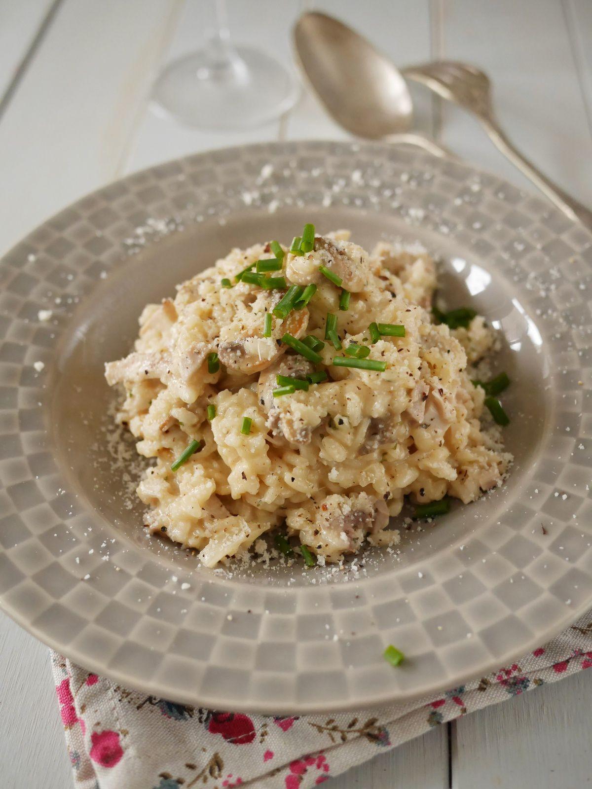 Recette Risotto Poulet Champignon : recette, risotto, poulet, champignon, Risotto, Poulet, Champignons, Cuisine, Créative,, Recettes, Popotte, Manue