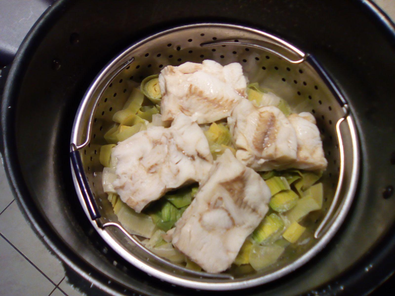 double cuisson poissons et poireaux au