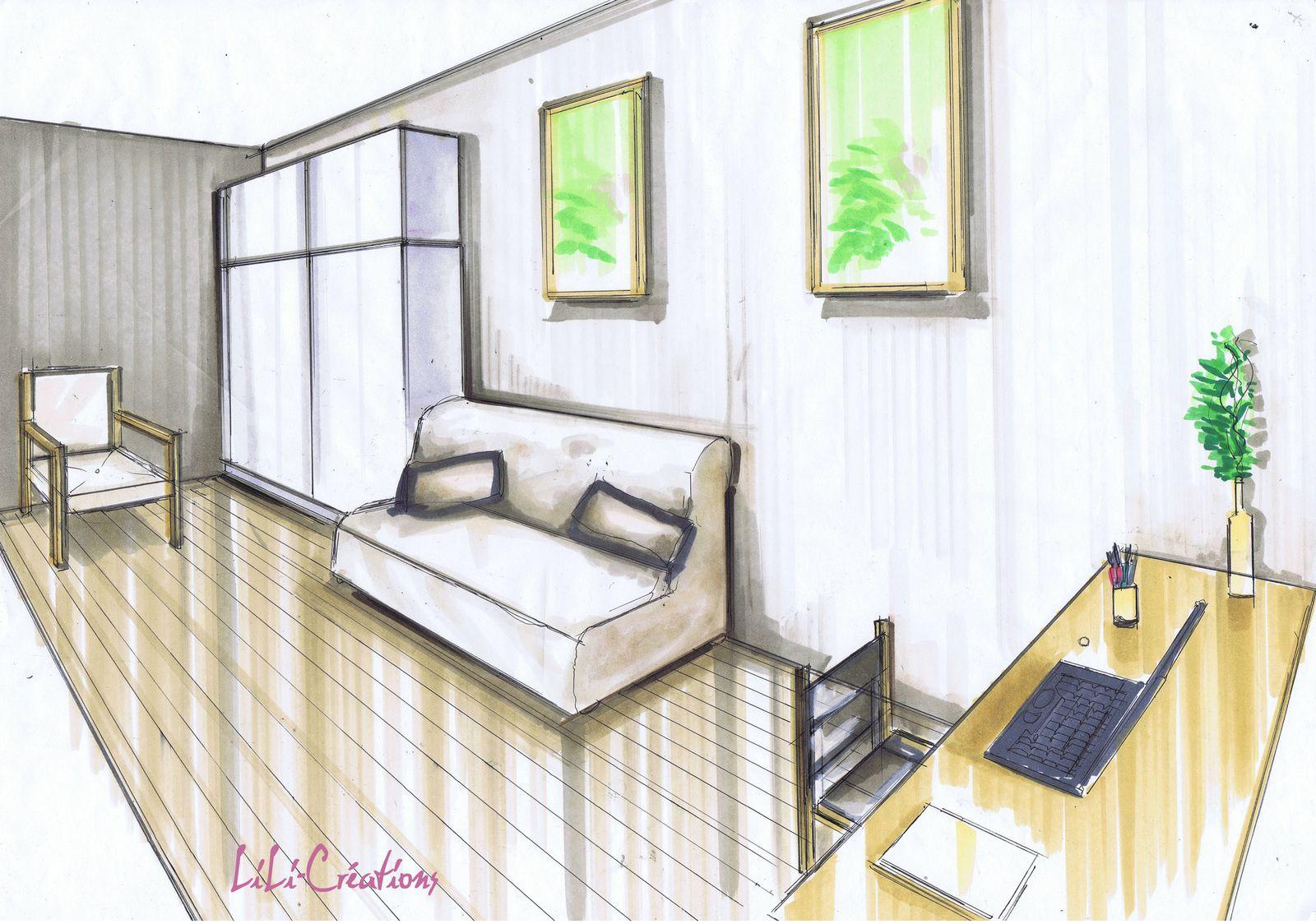 Dessiner Une Chambre En Perspective   Dessiner Meuble 3d Luxe Dessin ...