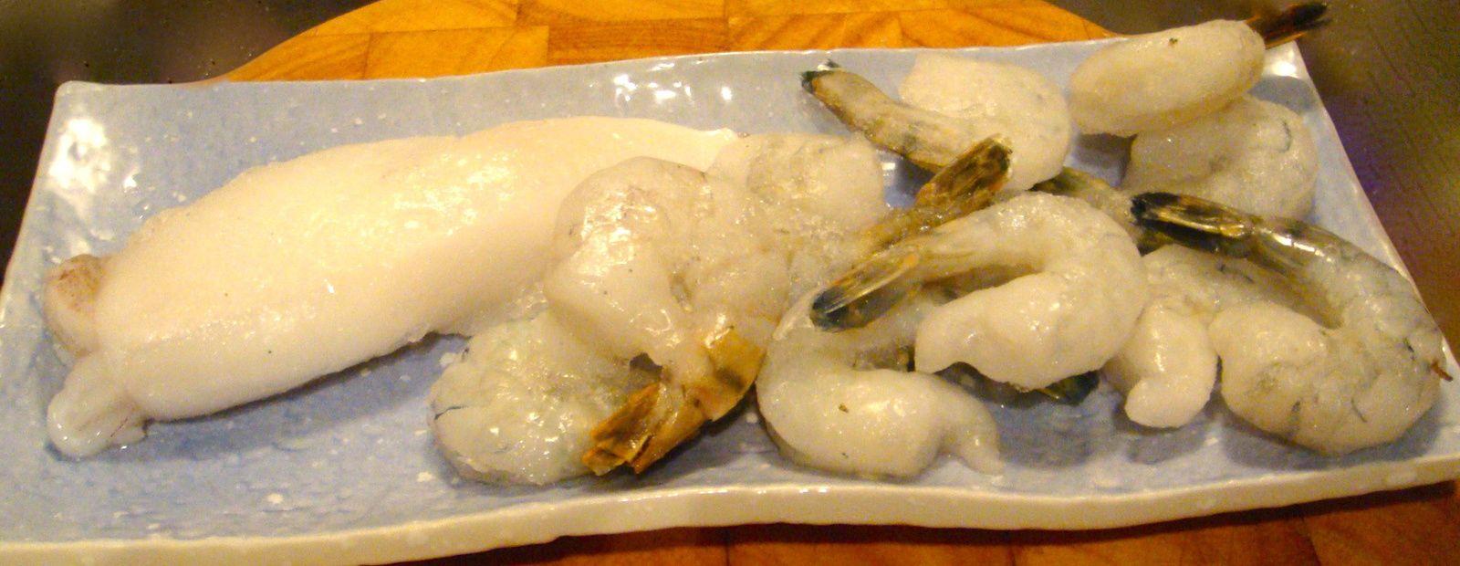 Calamar et crevettes