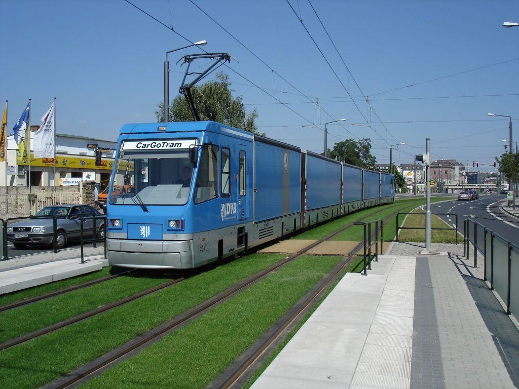 CargoTram à Dresde. Source: http://en.wikipedia.org/wiki/CarGoTram