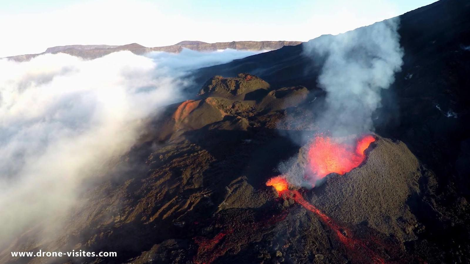 Cinder cones on Piton de la Fournaise (photo: Drone Visites)