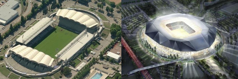 Le Stade de Gerland, abritant l'OL depuis plus de 90 ans, et le futur Grand Stade où le club emménagera en 2016.