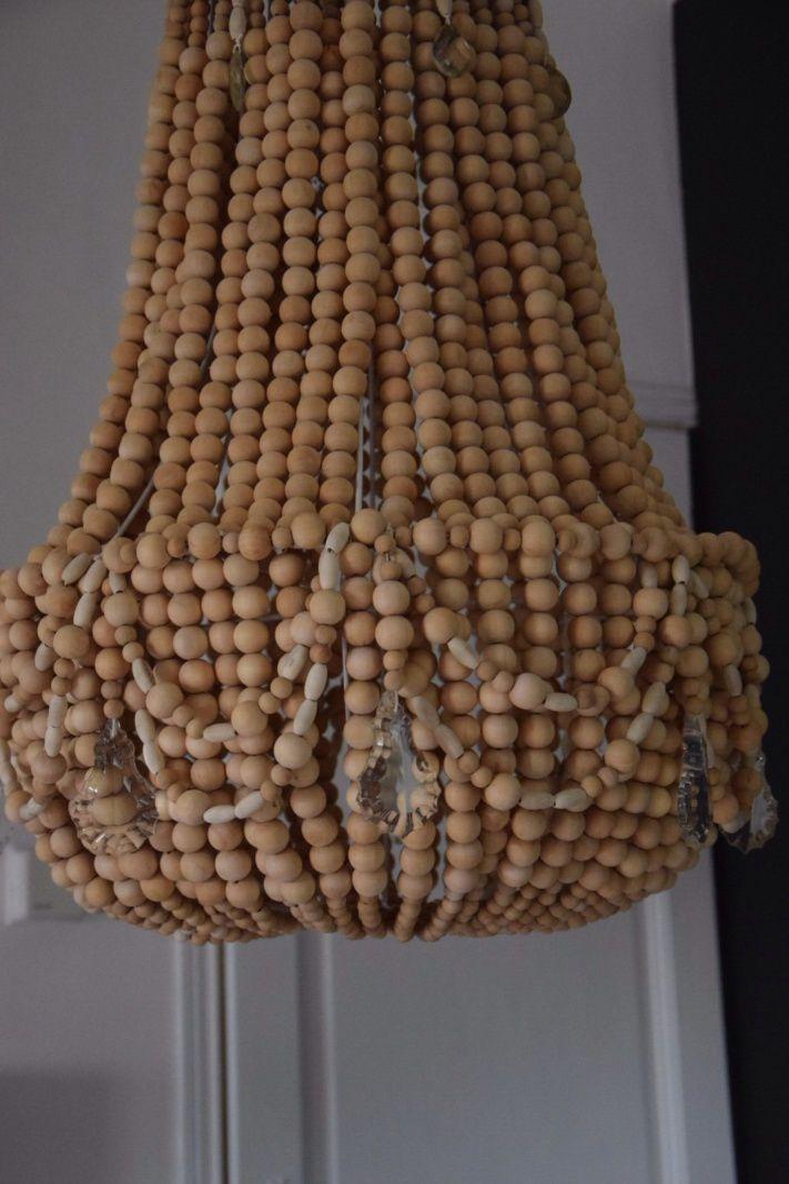 Lustre en perles de bois naturelle  Influencesetdecorationoverblogcom