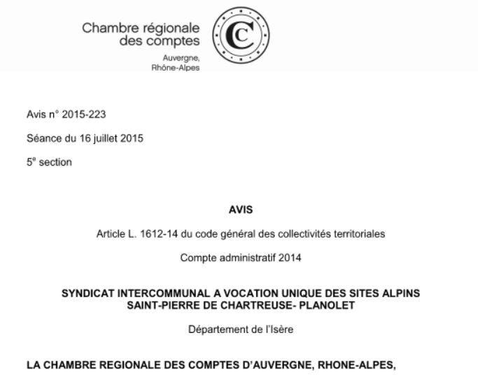 La commune de Saint Pierre de Chartreuse condamne par la Chambre Rgionale des Comptes  verser