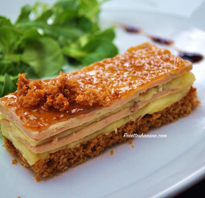 Mille-feuilles de foie gras aux pommes