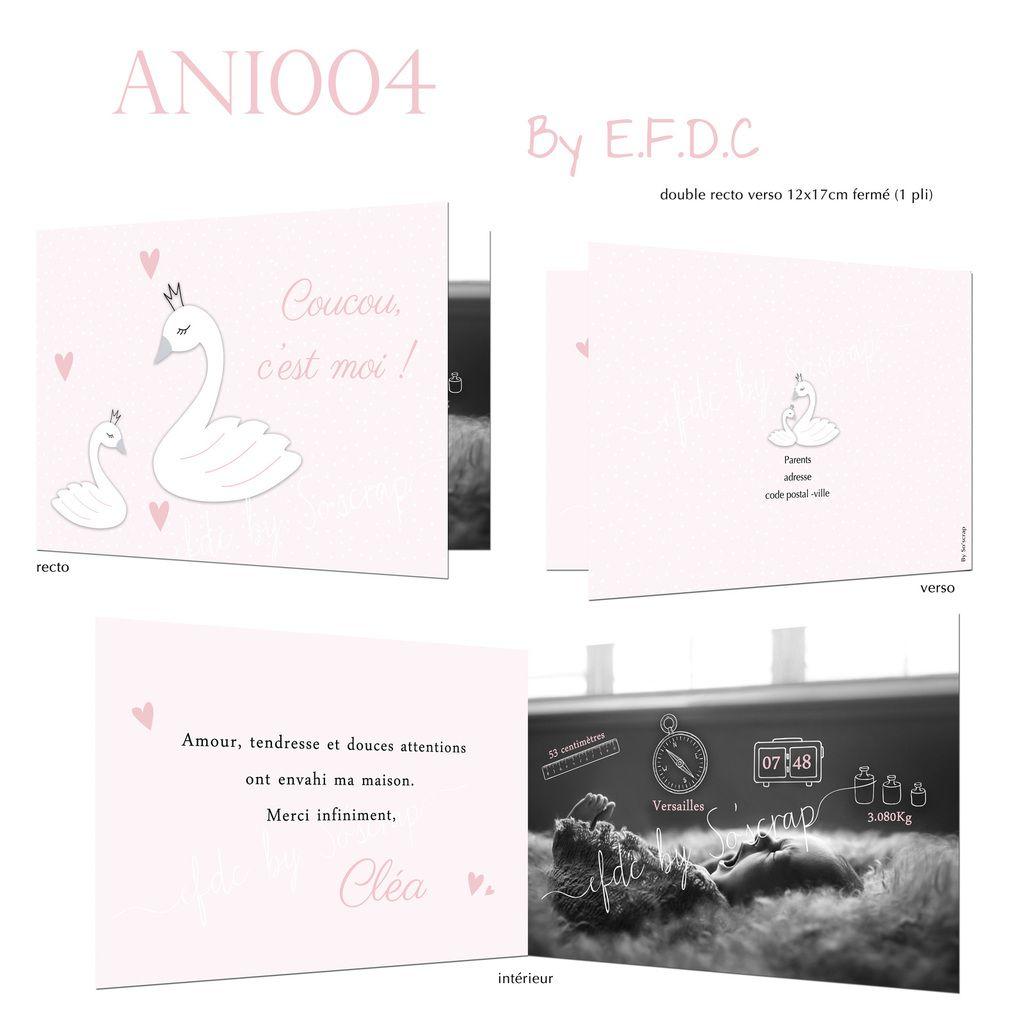 RÉF : ANI004, faire part naissance thème cygne 1 pli 12x17cm fermé, texte et photo à personnaliser, #efdcbysoscrap #fairepart #naissance #rose #pictogrammes