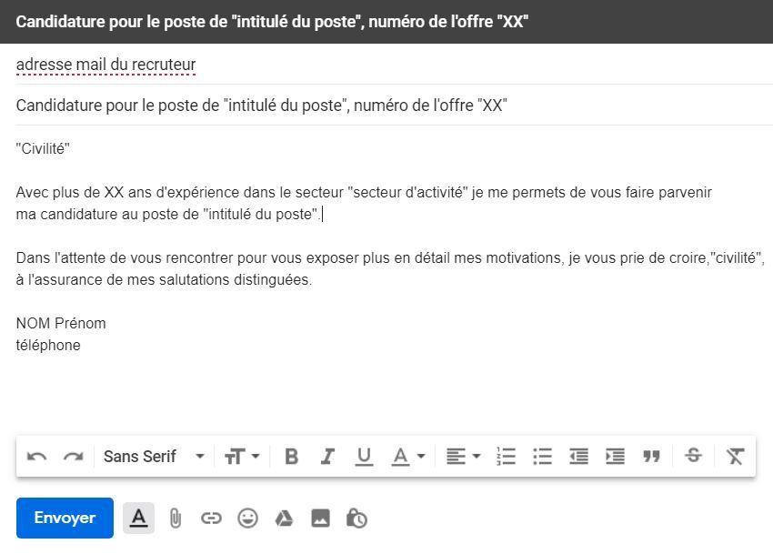 comment ecrire un email pour envoyer un cv