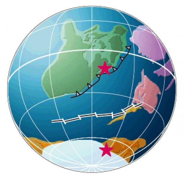 A la fin de l'Ordovicien, le Sahara est sous la glace, comme une bonne partie du Gondwana ; l'Amérique du Nord est aux tropiques.