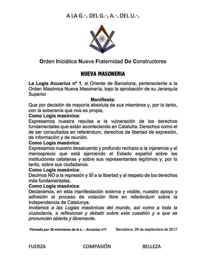 Indépendance de la Catalogne : communiqués des sectes maçonniques de la Grande Loge Féminine d'Espagne (GLFE) et de la loge Acuarius n°1 à l'Orient de Barcelone