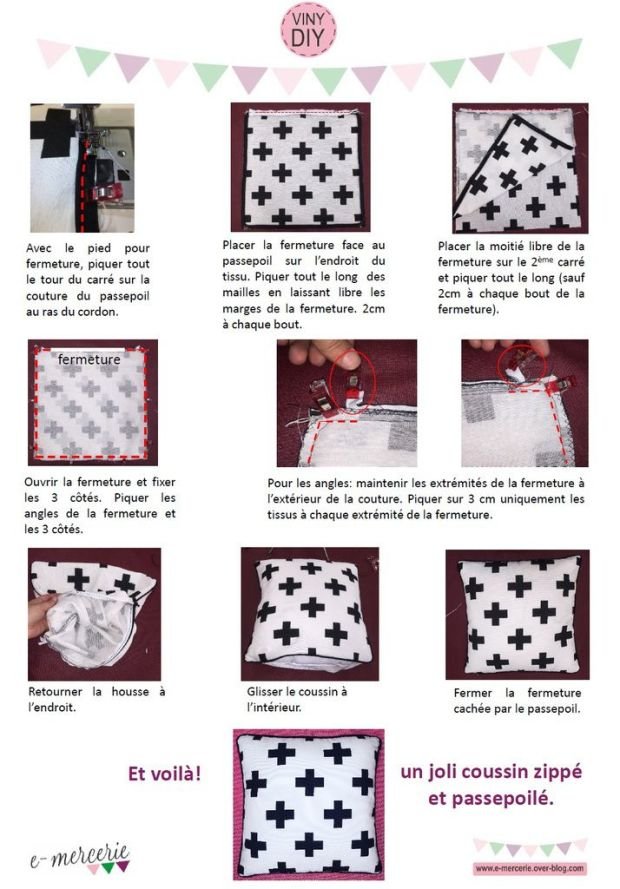 tuto couture coussin passepoil