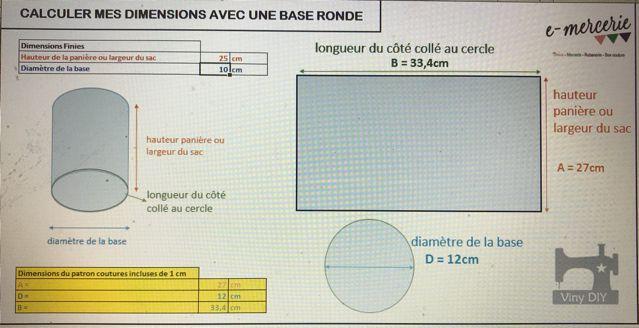 Outil de calcul de dimensions avec une base ronde - Calculateur Base Ronde Viny DIY