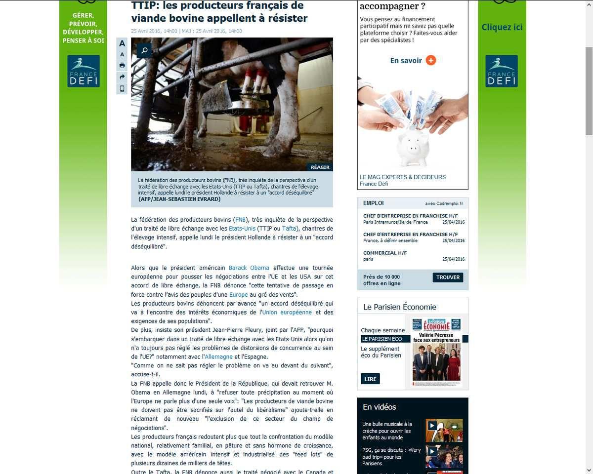 Traité transatlantique : la fédération des producteurs bovins appelle à résister