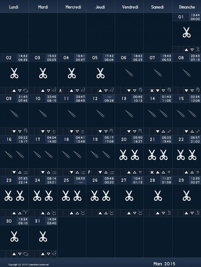 Calendrier Lunaire De Mars 2015 : calendrier, lunaire, Calendrier, Lunaire, Couper, Cheveux, S'épiler., Ferme, Perché