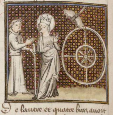 Français 829, Pèlerinage de vie humaine 1400-1410, folio 61v. http://gallica.bnf.fr/ark:/12148/btv1b84497167/f130.item.zoom
