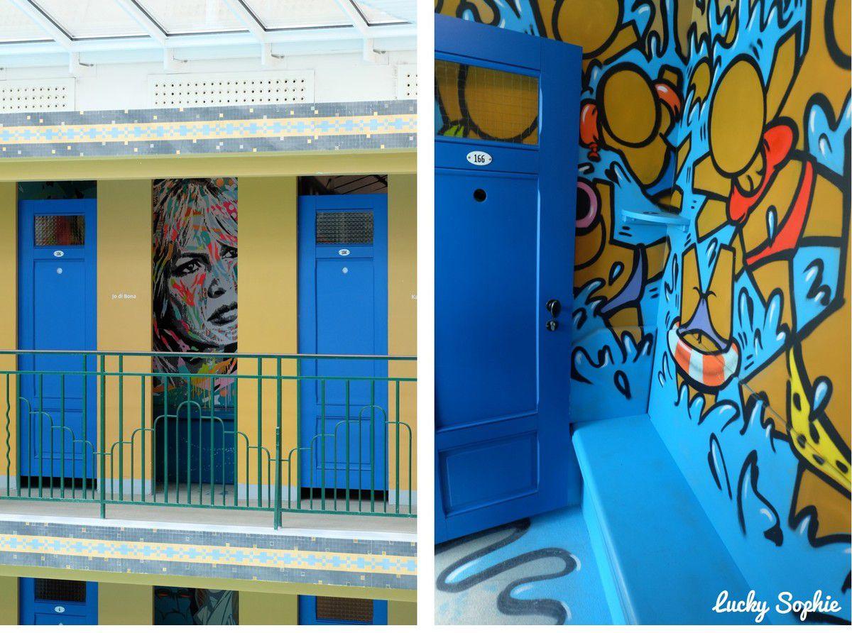 les cabines street art de la piscine
