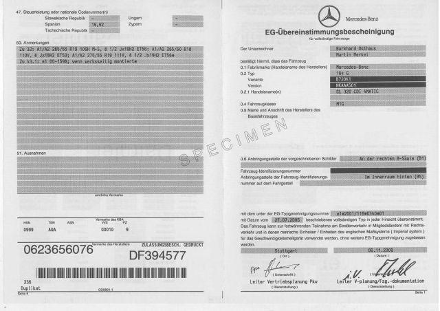 Certificat de conformité européen Mercedes