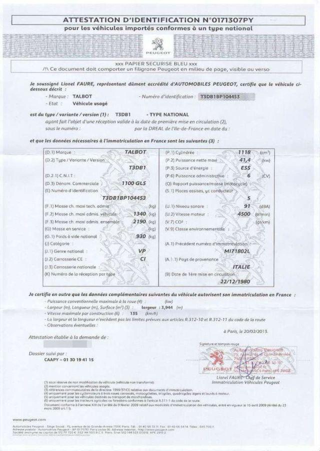 Certificat de conformité délivré par le constructeur