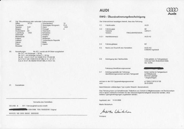 Certificat de Conformité Audi Gratuit - Certificat de Conformité ...