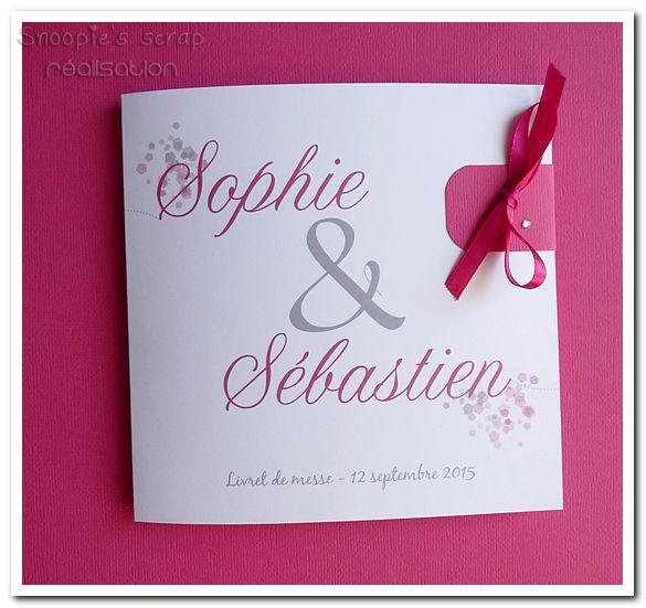 """Livret de messe test - Sophie & Sébastien - blanc & fushia - modèle """"carré"""""""