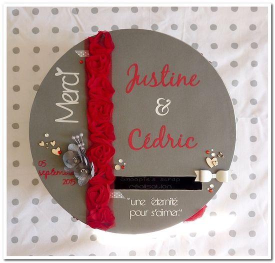 Urne Justine & Cédric - mots d'amour - gris & rouge