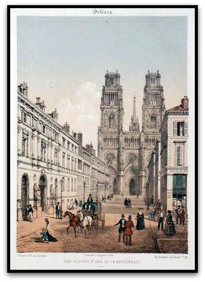 La rue Jeanne d'Arc et la cathédrale Notre-Dame Sainte-Croix,  Estampe de Léon Auguste Asselineau XIXème siècle