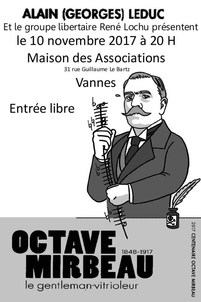 Rencontre autour d'Octave Mirbeau (1848 – 1917), le gentleman vitrioleur : Vannes, vendredi 10 novembre